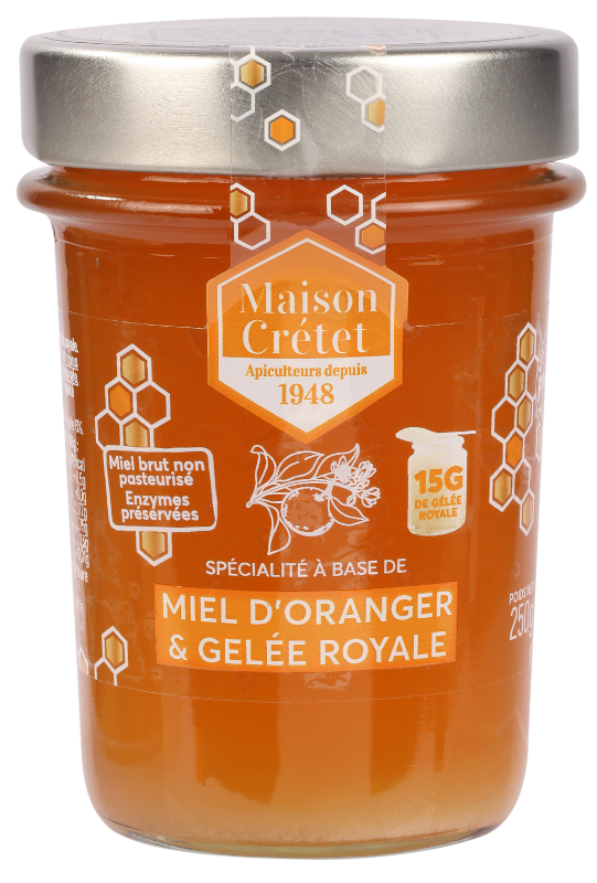 miels enrichis miel oranger gelée royale 250g
