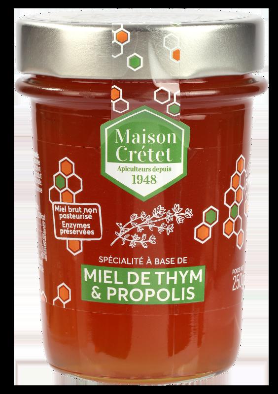 miels enrichis miel thym propolis 250g